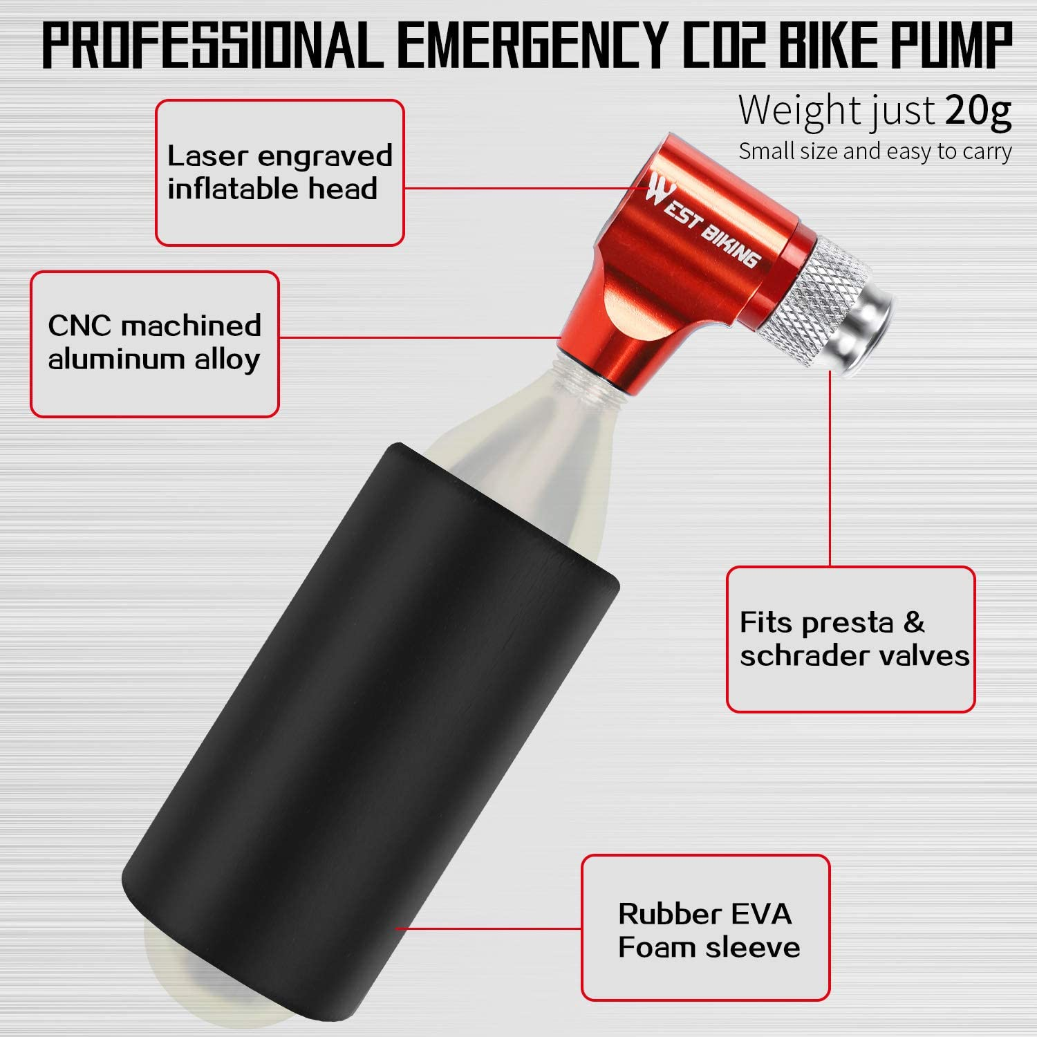 Bicycle Mini Hand Pump with/Insulated Sleeve for Road Mountain Bikes Easy Screw-On Design No CO2 Cartridges Included CO2 Inflator Bike Tire Pump Fits Presta and Schrader