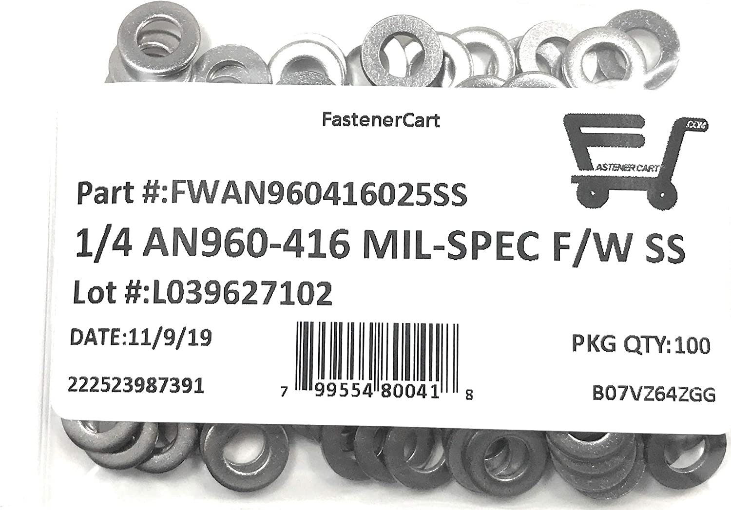 1//4 AN960-416 Mil-Spec Flat Washers Stainless Steel AN960-416 1//4 ID x 1//2 OD x.062 THK 100 Pieces