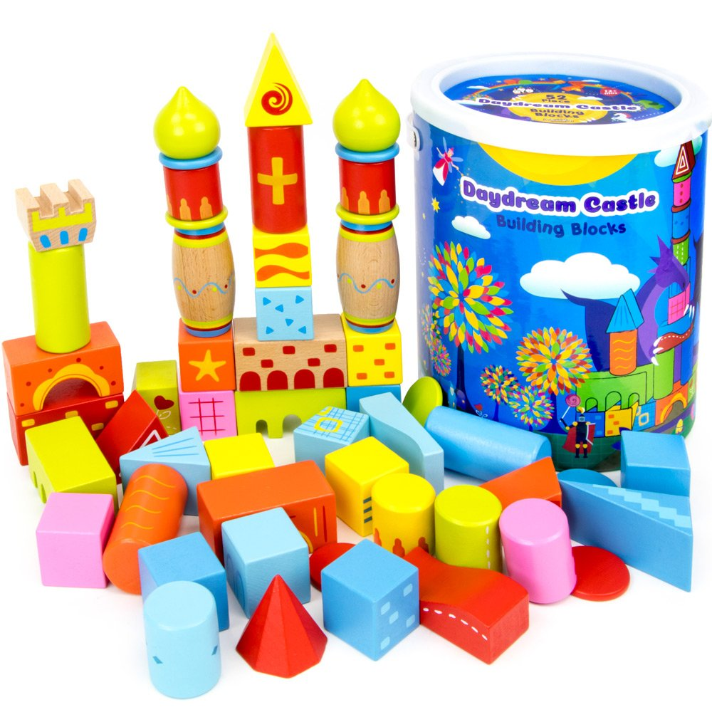 52-piece Daydream Castle Premium Wood Building Blocks with Fun Patterns and Unique Shapes by Imagination Generation Wooden Wonders