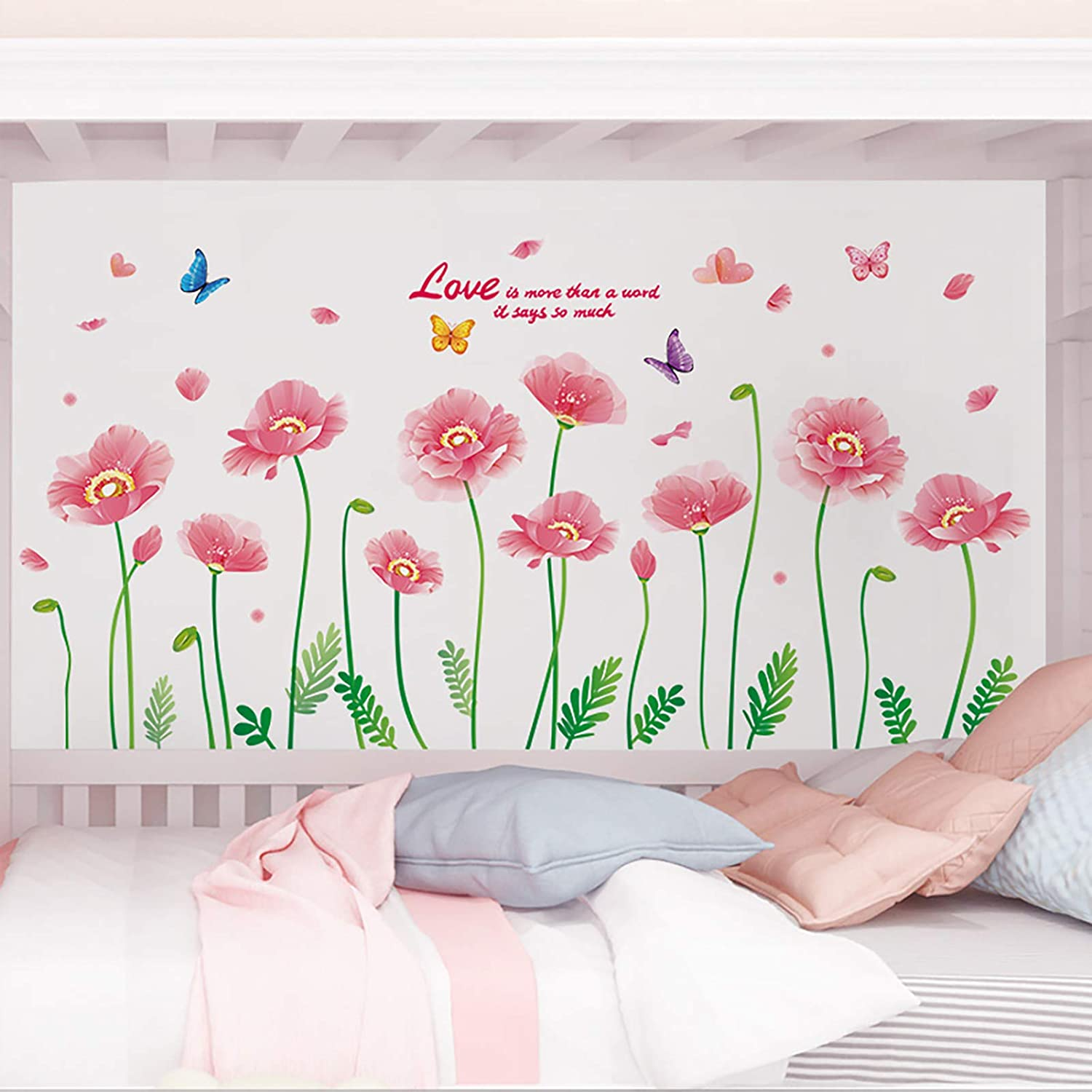 Vibrant Poppy Flowers Vines Wall Decals, SMFANLIN Removable Poppies Floral Peel and Stick Wall Stickers, Garden Plant Art Murals Posters Decor for Kids Baby Bedroom Bathroom Living Room Home (Pink)