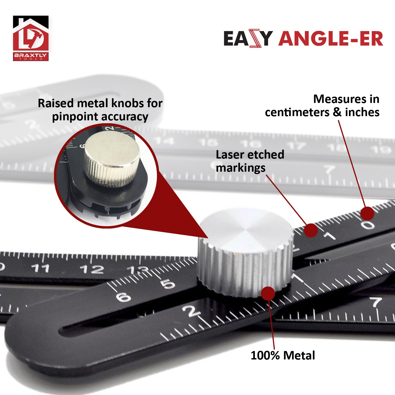 Braxtly Tools EASY ANGLE-ER HEAVY DUTY Template Tool - Ultimate Multi Angle Ruler - For Measuring Angles - Made of Premium Metal Alloy- Adjustable Knobs for Precise Measurement- w/Instruction Manual by Braxtly Tools (Image #3)