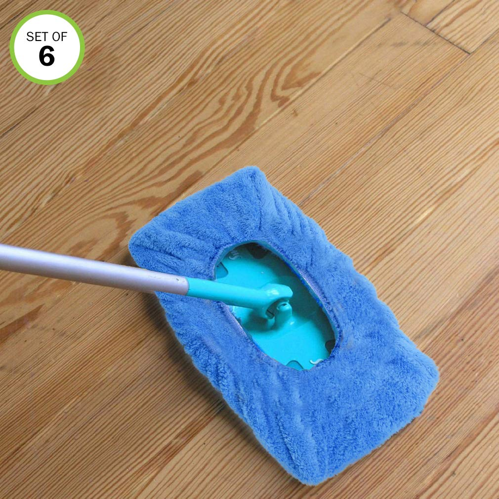 Evelots Mop/Sweeper Pad-Microfiber-Reusable-Dry Fast-Non Abrasive-One Size-Set/6