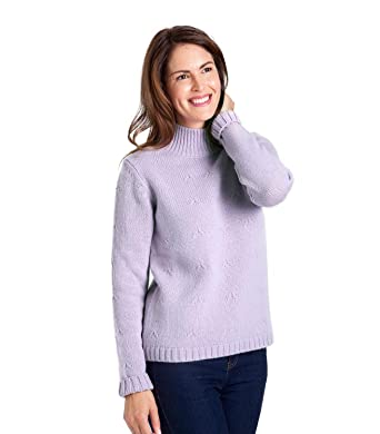 9d94d21a0a3b19 Woolovers Womens Wool Blend Funnel Neck Hidden Cable Jumper Soft Violet,  XL: Amazon.co.uk: Clothing