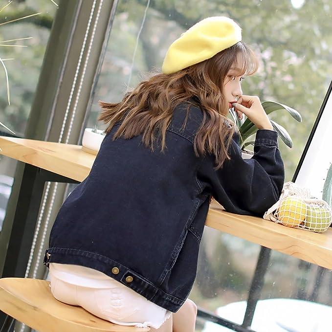 Chaqueta de denim de julio Mujeres Sueltan la Chaqueta de Mezclilla de Manga Larga Estudiante Casual Prendas de Abrigo: Amazon.es: Ropa y accesorios