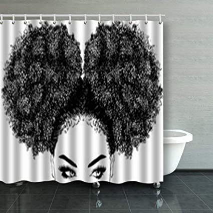 Pillow Hats Shower Curtains Custom Decorative Black Woman Curly Hair African Women Design Waterproof Polyester Fabric