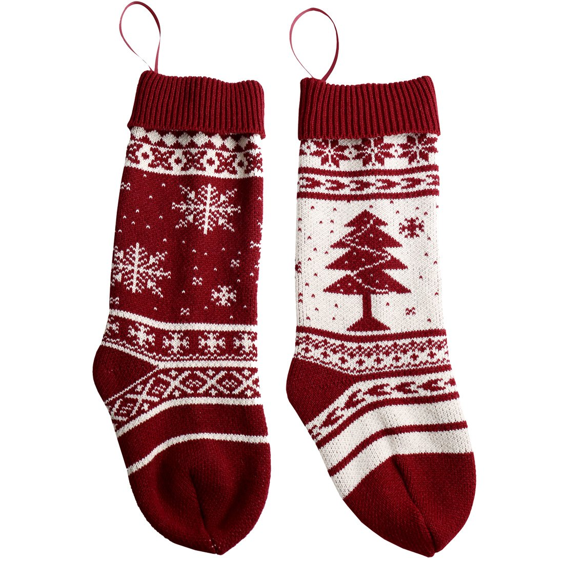 17 Inch Knit Christmas Stockings, Pack 2 Gift Bags Snowflake Tree Pattern