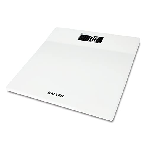 Salter Slimline Digital Bathroom Scales – Electronic Body Weighing, Metric kg / Imperial lb, High Gloss White Platform, Easy Read Display, Step On Instant Weight Reading, 15 Year Guarantee