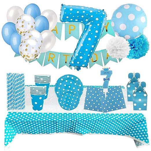 Set de Artículos Accesorios Completo para Decoración Fiestas Cumpleaños Bebé Lote Sirve 16 Invitados (Niño de 7 años)