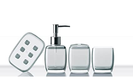 Bath Bliss Contemporary Acrylic 4 Piece Bathroom Accessory Set, Assorted  Sizes And Colors (Short