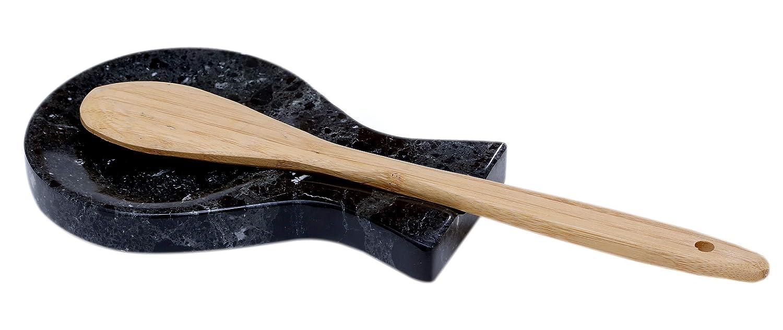Outil de cuisine pour le comptoir noir Organisateur de cuisine Non c/éramique sans cuivre RADICALN Repose-cuill/ère fait main en marbre grande spatule louche fourchette repose-ustensiles