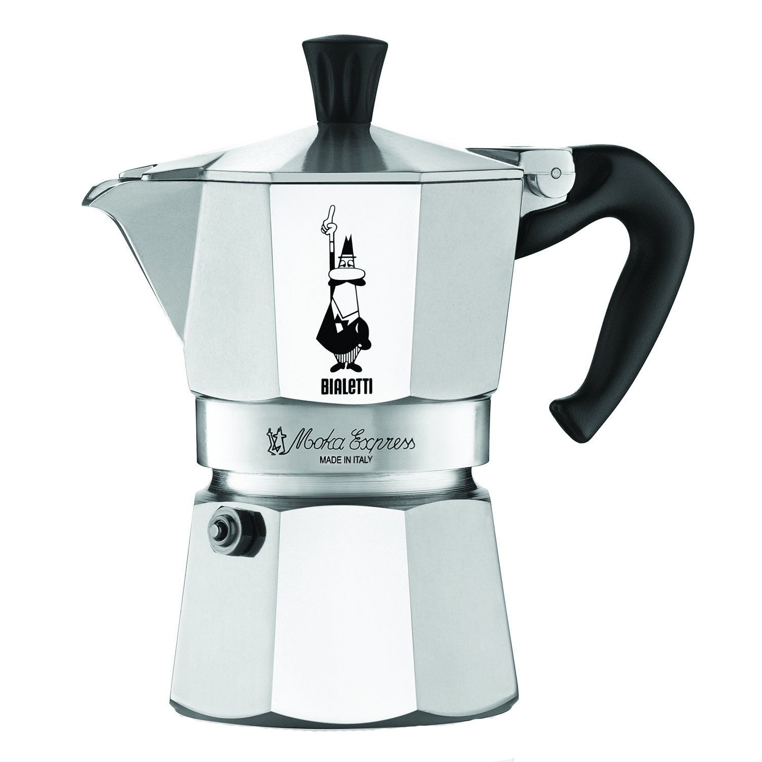 The Original Bialetti Moka Express Made in Italy 3-Cup Stovetop Espresso Maker with Patented Valve (06799)
