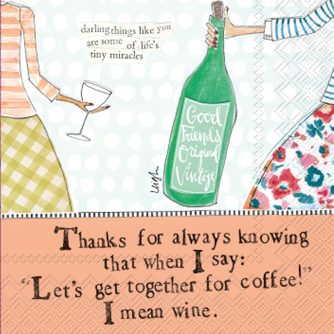 Ideal Home Range C007200 Curly Girl 20 Count Paper Cocktail Napkins, Coffee And Wine