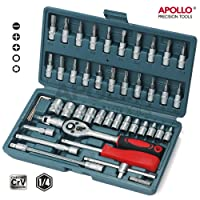 """Apollo 46 Piece Professional Cr-V Metric Socket Set- 1/4"""" Drive Sockets (4-14mm), Bit Socket Set & Accessories Kit for Automotive, Plumbing, Mechanical, Engineering, and Industrial Tasks in Sturdy Storage Case"""