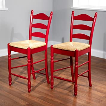 Target Marketing Systems 24-Inch Set of 2 Ladder Back Stools with Rush Seats and & Amazon.com: Target Marketing Systems 24-Inch Set of 2 Ladder Back ... islam-shia.org