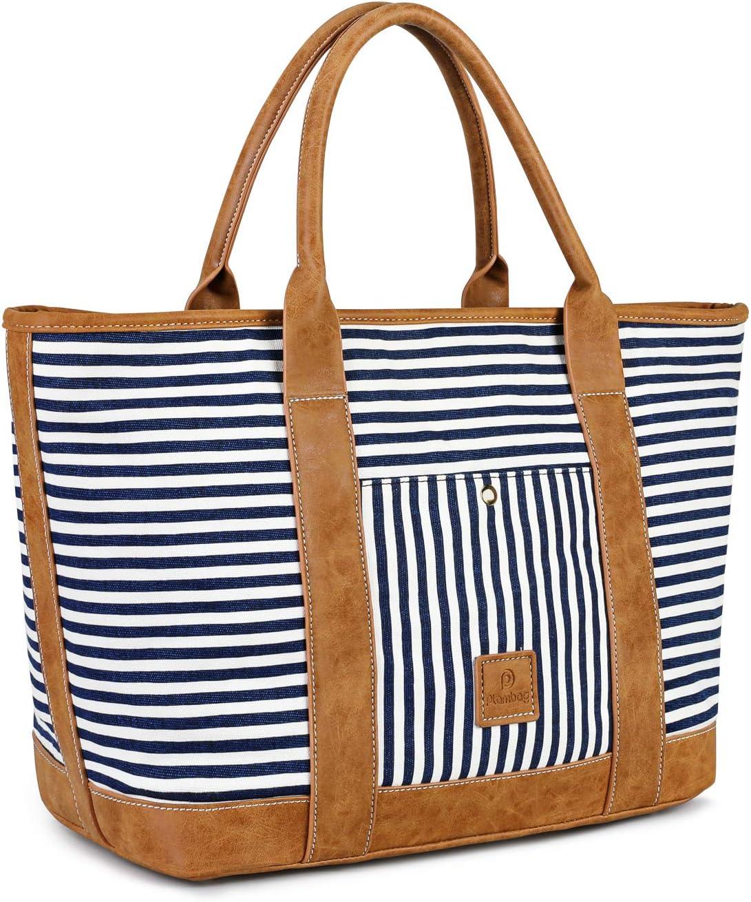 """Plambag Travel Tote Bag for Women, Beach Shoulder Bag, Large Water-Repellent Canvas Stripe Shoulder Handbag, 15.6"""" Laptop Tote Bag (Dark Blue)"""