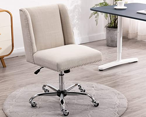 CIMOO Comfortable Office Chair Modern Armless Fabric Desk Chair Upholstered Task Chair