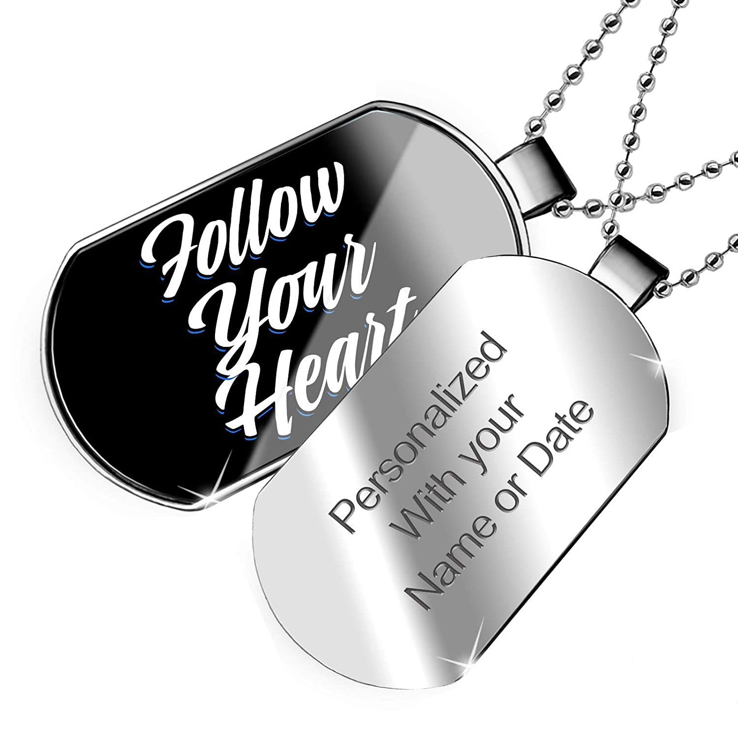 NEONBLOND Personalized Name Engraved Classic Design Follow Your Heart Dogtag Necklace