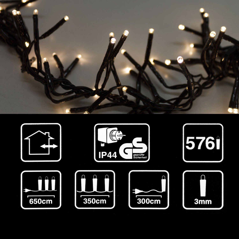 Multistore 2002 Cluster Lichterkette mit 576 LEDs warmwei/ß 6,5m lang 8 Leuchteffekte//Innen /& Au/ßen