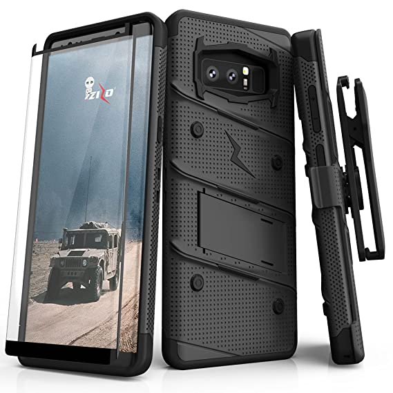 sneakers for cheap c19bf f75c8 Zizo Bolt Series Compatible with Samsung Galaxy Note 8 Case Military Grade  Drop Tested with Tempered Glass Screen Protector Holster Black