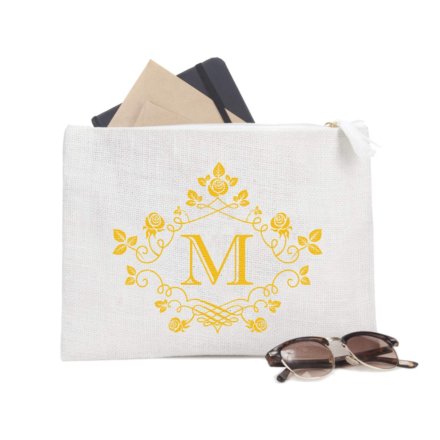 ElegantPark M Initial Monogram Personalized Travel Makeup Cosmetic Bag Jute Clutch Pouch Gifts with Zipper