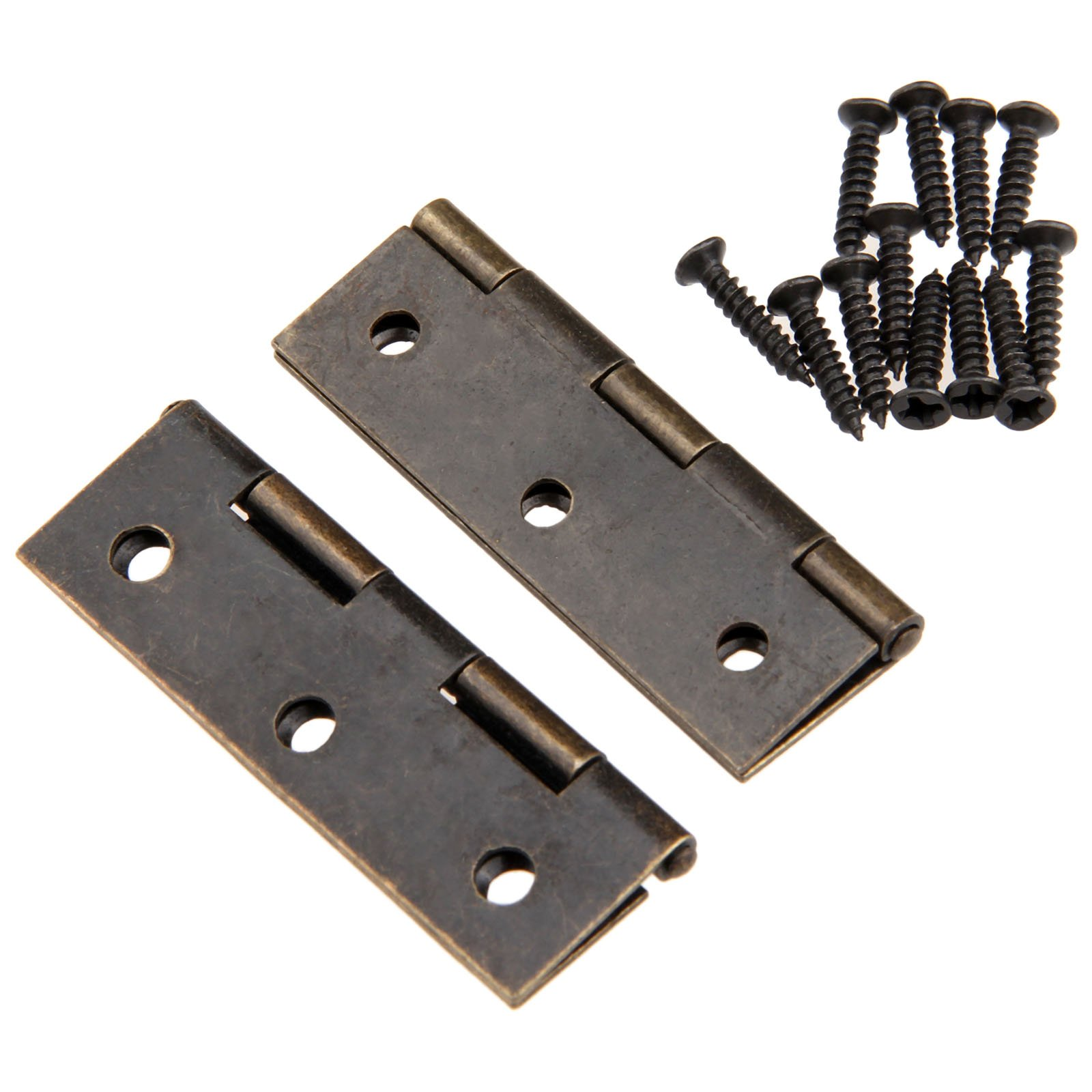 Dophee 10Pcs 60x37mm Antique Brass Mini Hinges Cabinet Drawer Wood Box Chest Decorative Hinges