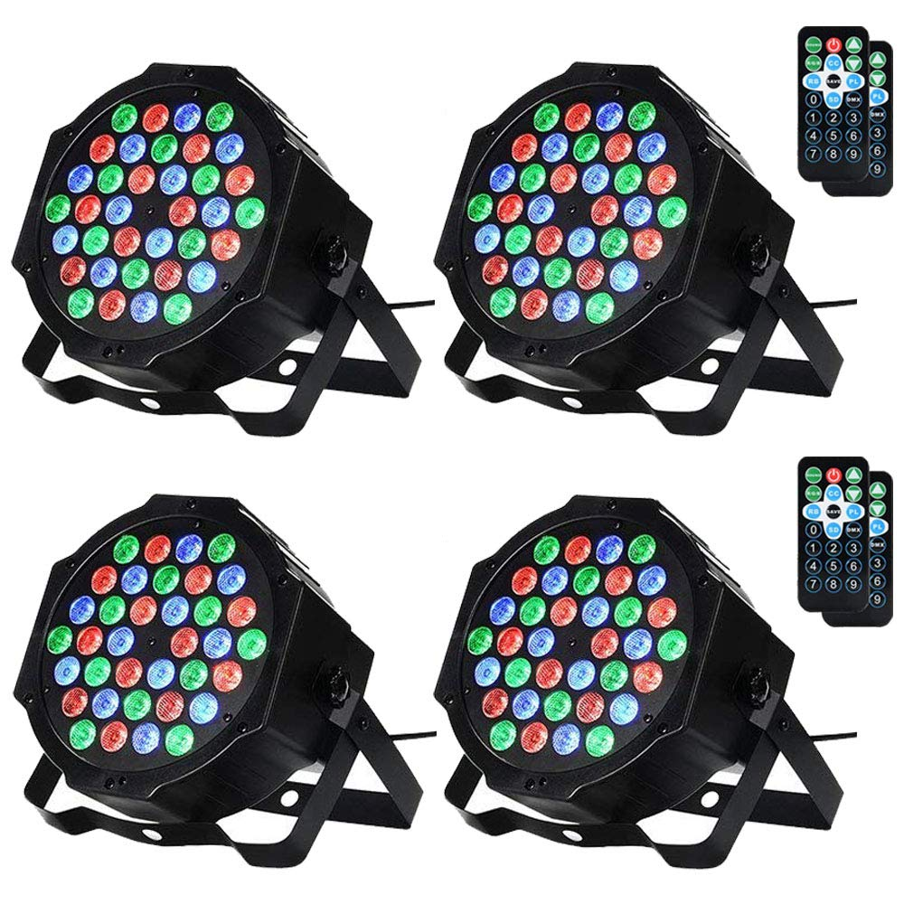LUNSY Stage Lighting 36LED, DJ Par Can Lights, Uplights Indoor for Wedding, Remote and DMX Control, Sound Activated RGB Party Lights- 4 Pack