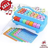 SGILE 2 en 1 Xilófono para Piano, Juguete de Instrumentos Musicales de 8 Escalas de Teclas con 6 Partituras para Niños Bebés