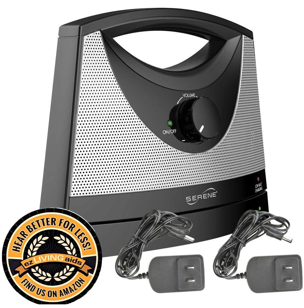 Serene Innovations TV-SB Wireless TV Listening Speaker w/Free Extra Power Adapter & EZ Living Aids Drink Coaster by TV Soundbox