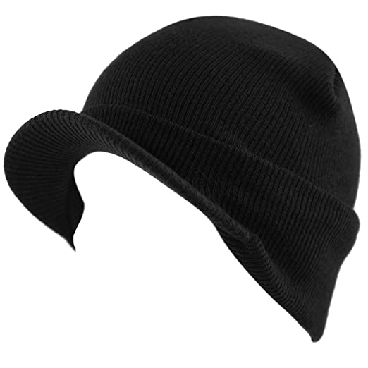 9b581d90 THE HAT DEPOT 1800 Unisex Made in USA Knit Visor Beanie Winter Hat (Black)