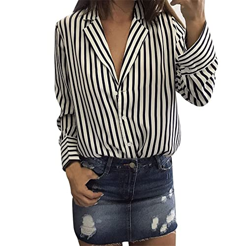 Camicia a righe, Longra Donna Poliestere quotidiana camicia a righe a maniche lunghe con colletto a ...