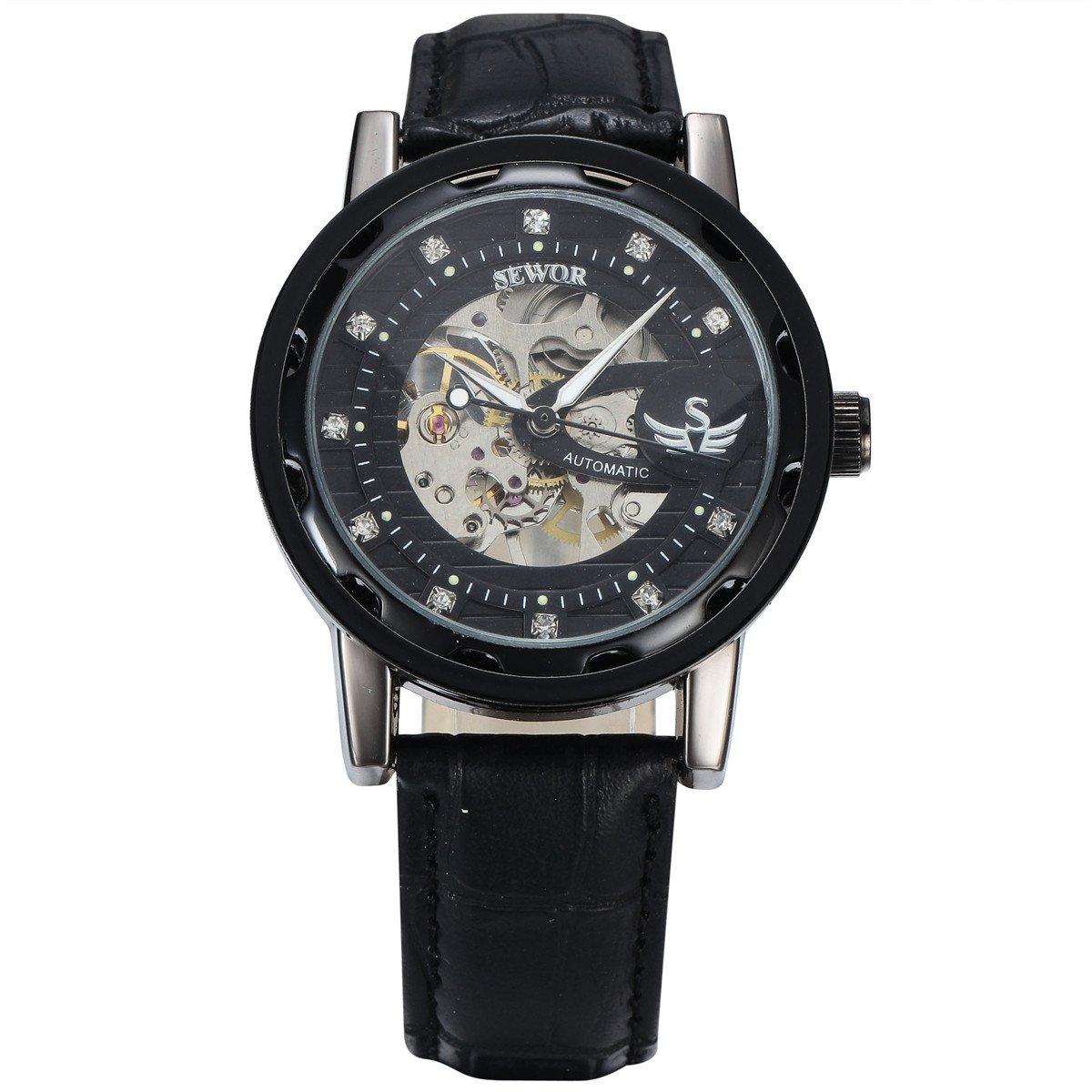 SEWOR Brand Skeleton Hollow Fashion Mechanical Man Gift Clock Luxury Business Black Leather Wrist Military Watch