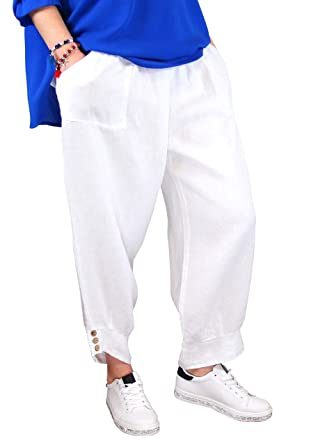 f85ed4981a447 Charleselie94® - Pantalon Femme Grande Taille Lin Blanc FEMINA Blanc - 42