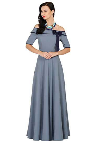 c9985722cae9 Raas Prêt Women s Grey Blue Crepe Off-Shoulder Ruffle Maxi Gown Dress   Amazon.in  Clothing   Accessories