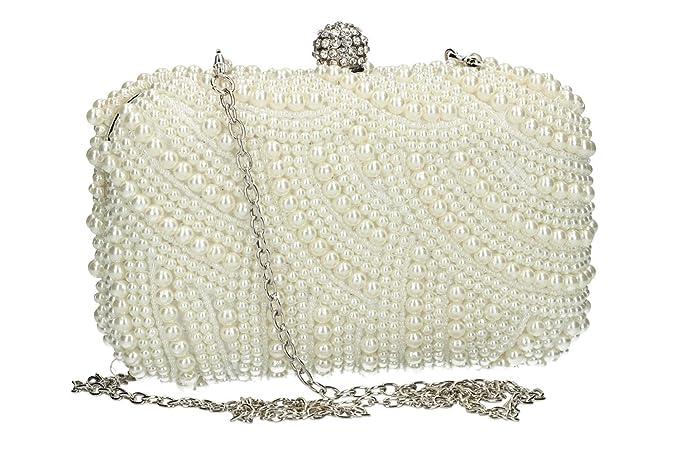 bbfb1833d6 Borsetta donna PASSION DE FEMME pochette bianca da cerimonia con perle  VN1920: Amazon.it: Abbigliamento