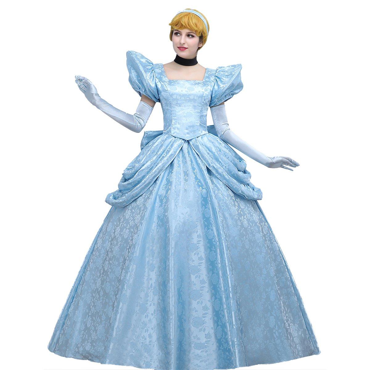 Angelaicos Women's Luxury Light Blue Party Long Dress Costume Ball Gown (L)