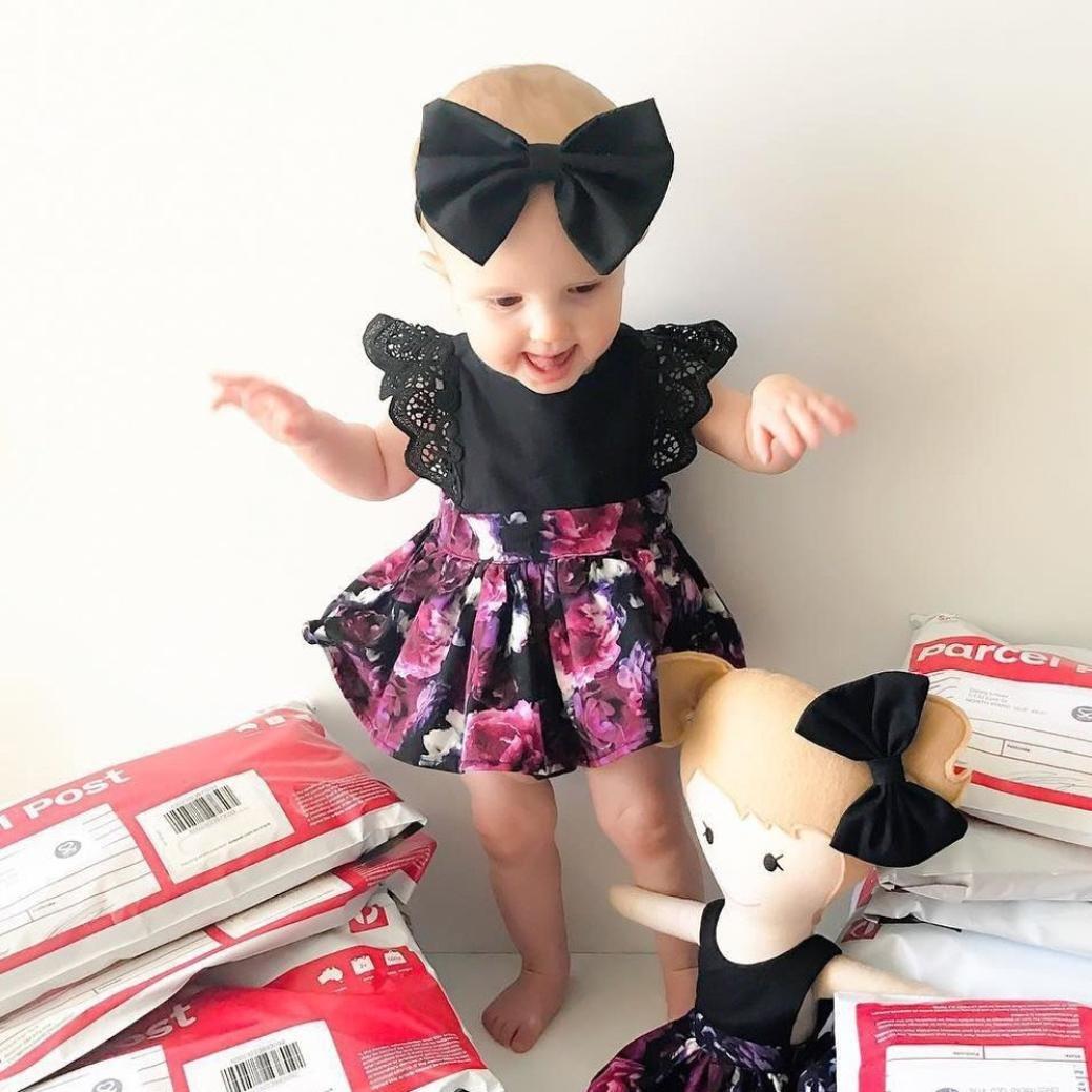 Amlaiworld Mono Bebé, Bebé Niñas Floral Princesa Vestido Hermana Ropa Conjunto 0-6 Años