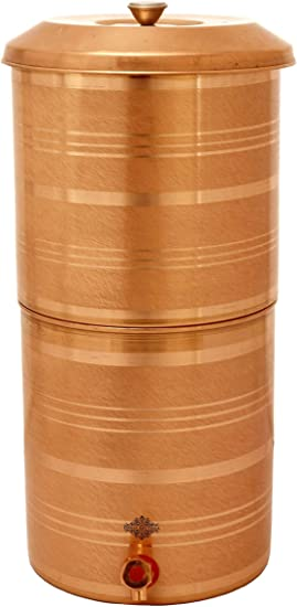 IndianArtVilla - Depósito de agua de cobre con doble filtro, agua ...