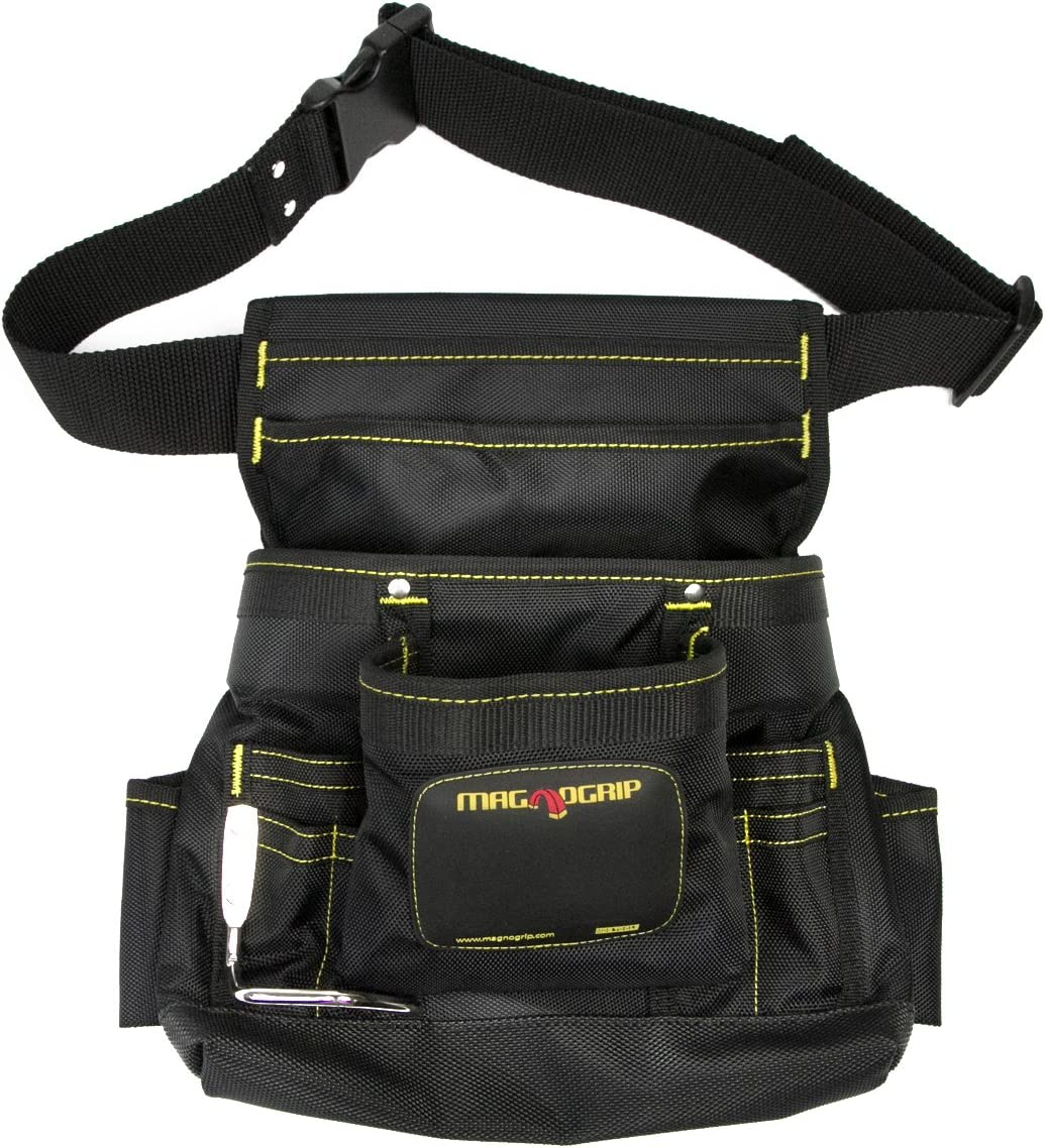 MagnoGrip 002-412 10-Pocket Magnetic Tool Pouch with Belt, Black