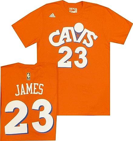 4ad7558b86a ... Cleveland Cavaliers Lebron James Adidas Orange Hardwood Classic  Throwback Jersey T Shirt (Large) ...