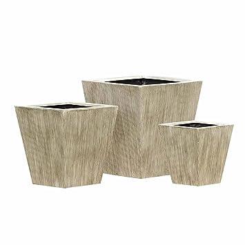 Pot plastique outliv. De 3 Pot de fleurs rectangulaire beige ...