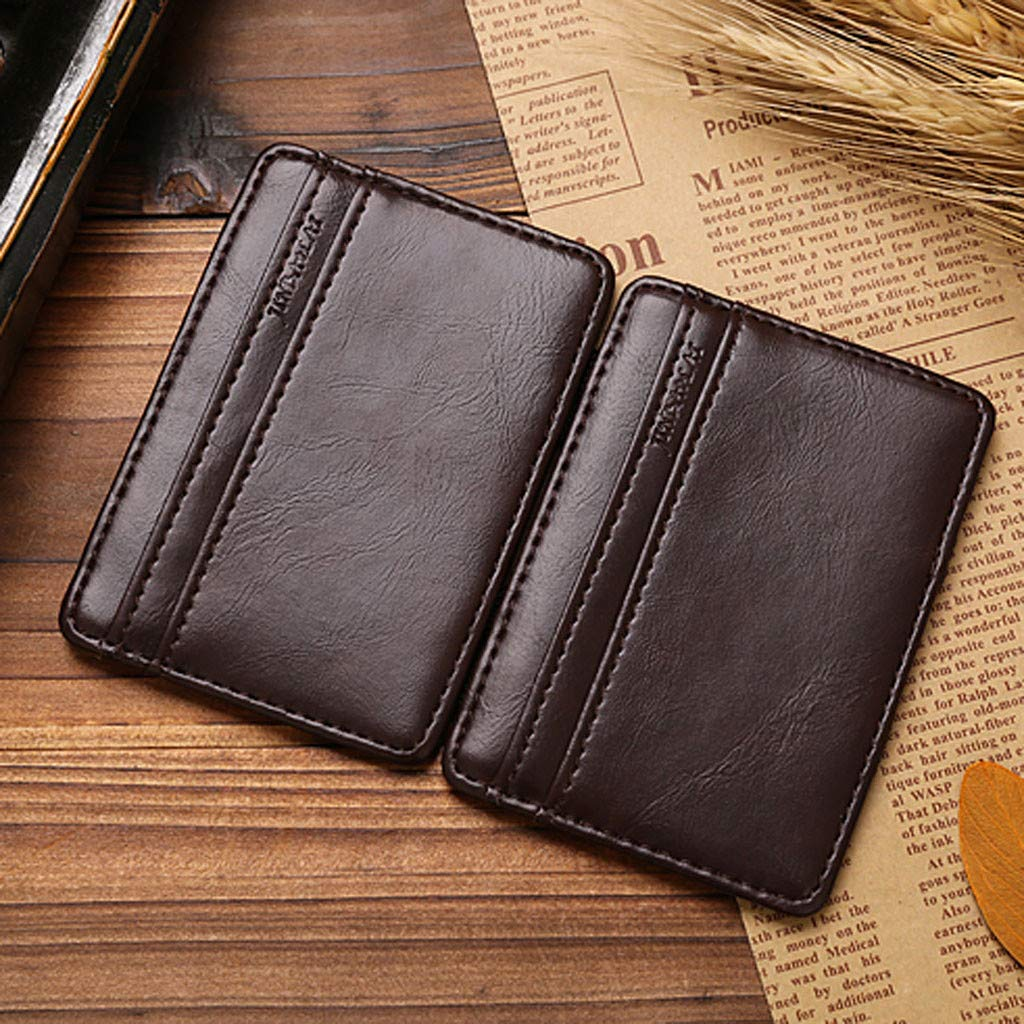SportHome Retro Men Leather Magic Money Clip Slim Mens Coin Artificial Leather Wallet ID Credit Card Package