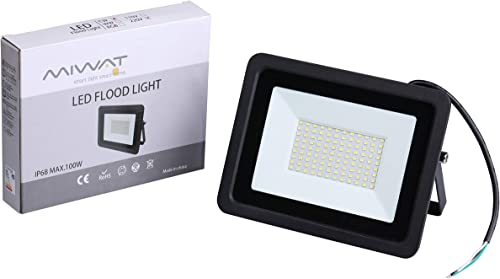 Ultra-Thin 10W 20W 30W 50W 100W Miheal LED Flood Light Spotlight Led Search Lamp 110V Floodlights for Outdoor Garden Street Square Cool White, 100W