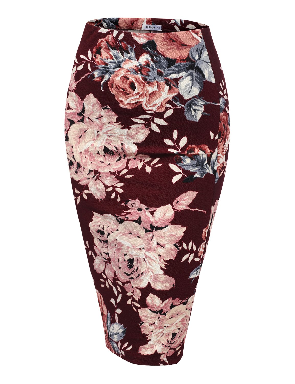 Doublju Stretch Knit Midi Pencil Skirt with Back Slit for Women with Plus Size BURGUNDYMAUVE Medium