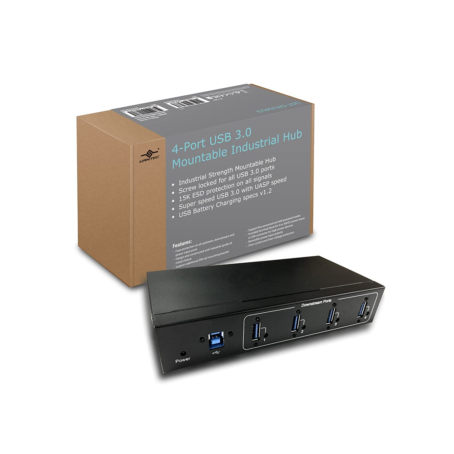 4 Port Usb 30 Mountable Industrial Hub With Screw Fuse Box Locked Cable Computers Accessories
