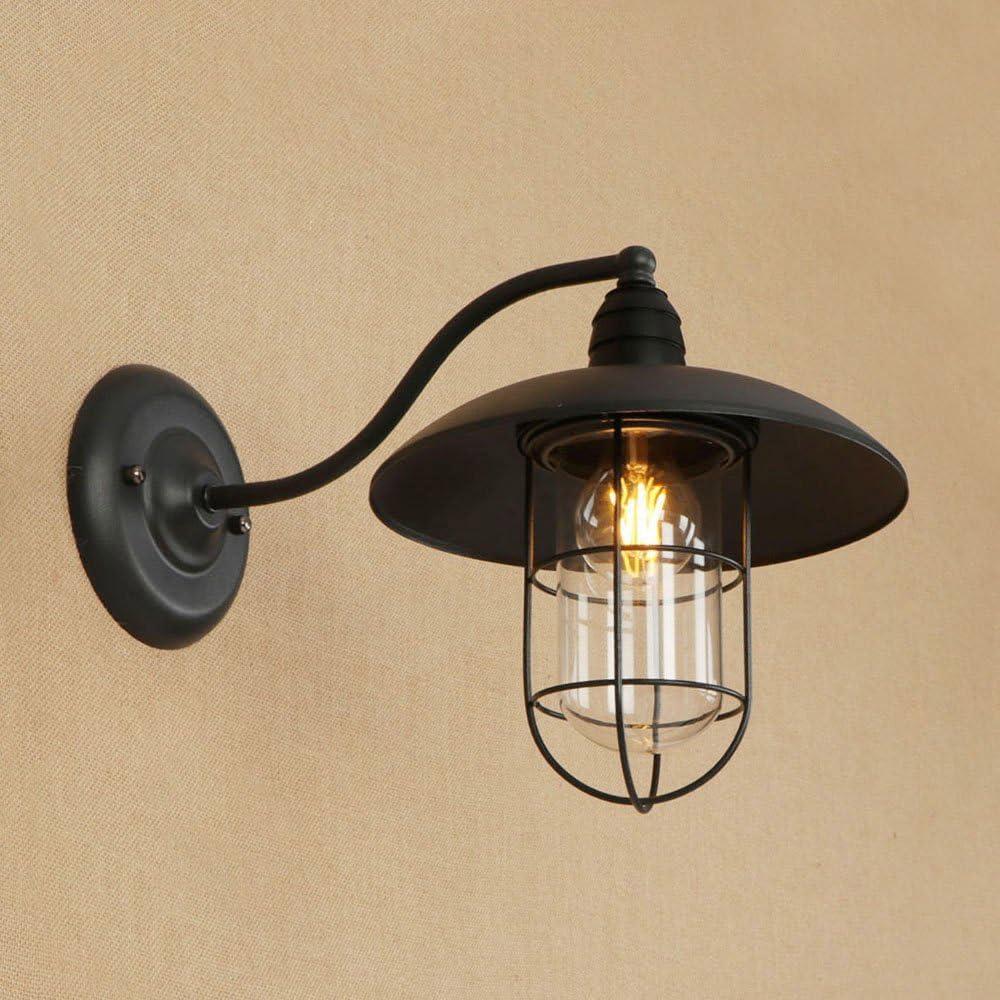 Rishx Negro Vintage Hierro Forjado Hueco lámpara de Pared Aplique de Metal Antiguo Edison E27 luz de Pared Decoraciones Interiores Sala de Estar Pasillo Escalera Accesorio de iluminación de Pared: Amazon.es: Hogar