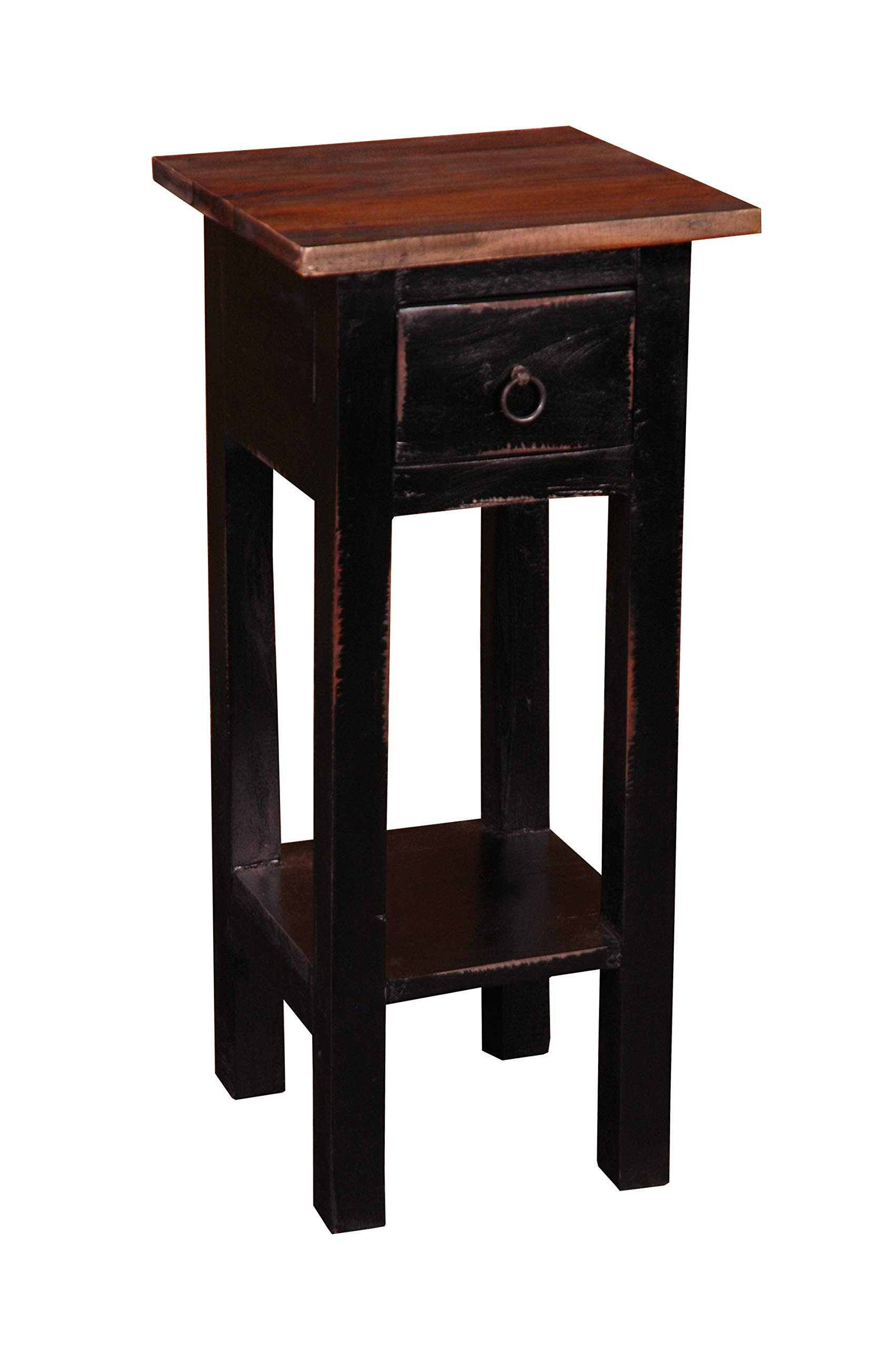 Sunset Trading Shabby Chic Cottage Side Table, Small One Drawer, Black, Brown by Sunset Trading