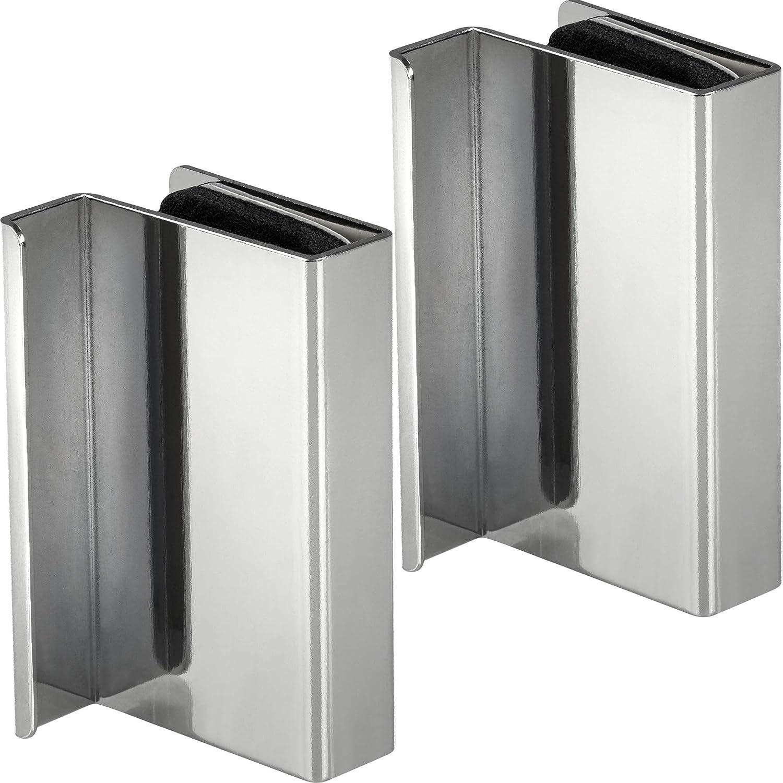 Cerradura de presión magnética Gedotec con tirador para muebles para apretar | Contraplaca de vidrio espesor 4-6 mm | vitrinas de puertas de vidrio con placa magnética Acero al cromo pulido - 2 piezas