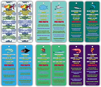 Creanoso Fun Facts About Fish Bookmarks - Nature and Sea Learning Pack Excellent Party Favors Teacher Classroom Reading Rewards and Incentive Gifts for Young Readers 60-Pack