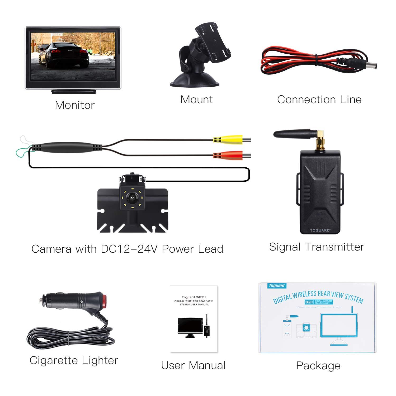 Kit de cam/éra de recul num/érique sans Fil cam/éra de recul avec 8 LED Spuer Vision Nocturne pour Camion//RV//Voiture//SUV//Camion//Micro /écran LCD 5 IP69 /étanche