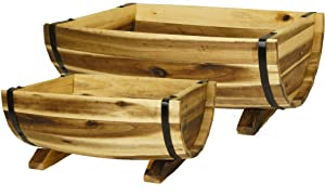 Classic Home and Garden 160015 Half Barrel Set of 2 Planters, 1 Pack, Acacia